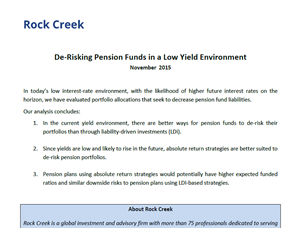 De-Risking Pension Funds in a Low-Yield Environment